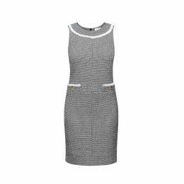 Rumour London - Emilia Checked Cotton Tweed Dress with Fringed Neckline Detail