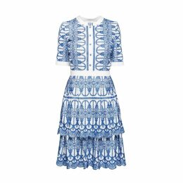 Rumour London - Florence Embroidered Two-Tier Pleated Dress