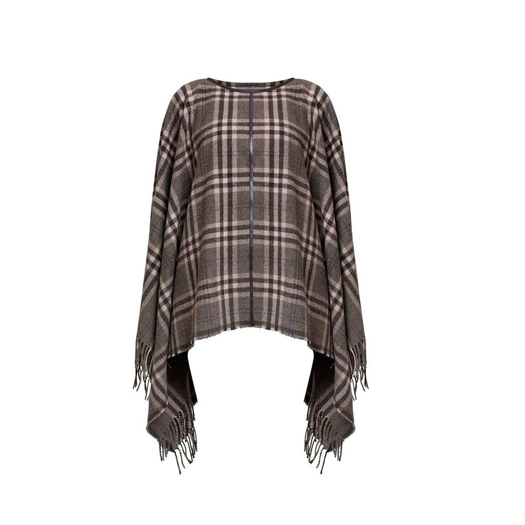 Rumour London - AVA Check Wool-Blend Cape