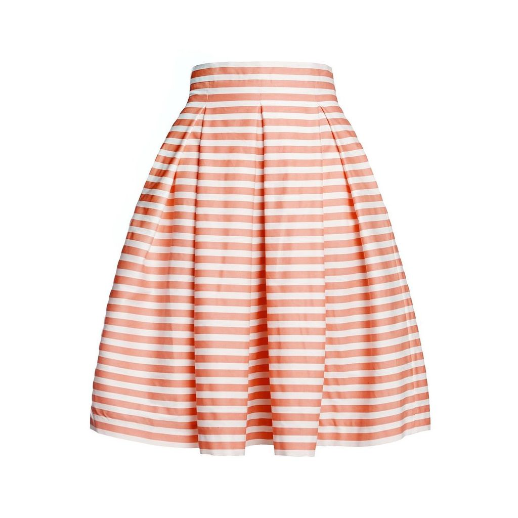 Rumour London - Amalfi Coral Striped Midi Skirt