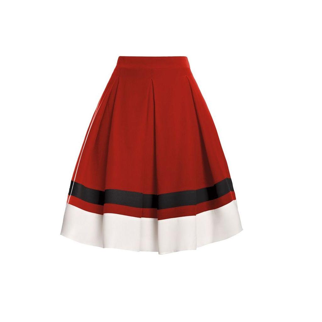 Rumour London - Bella Red Silk Flared Skirt