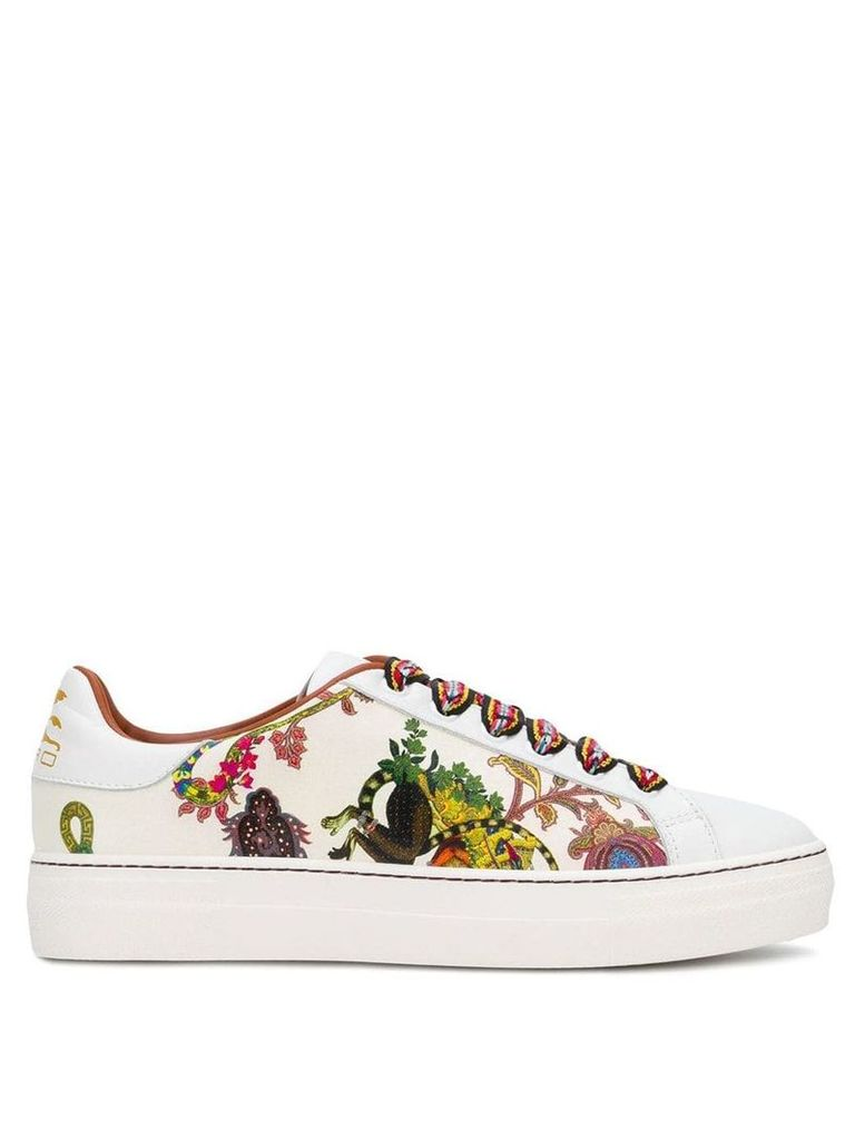 Etro contrast lace sneakers - White