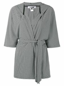 Prism Houndstooth check beach robe - Black
