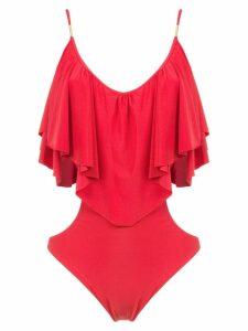 Brigitte ruffled bodysuit - Red