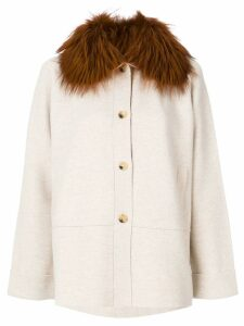 Cividini fur cape coat - Neutrals