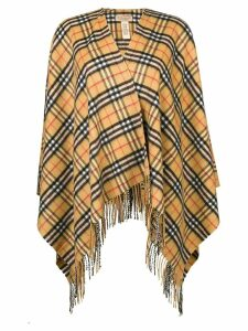 Burberry Vintage Check Cashmere Wool Poncho - Yellow