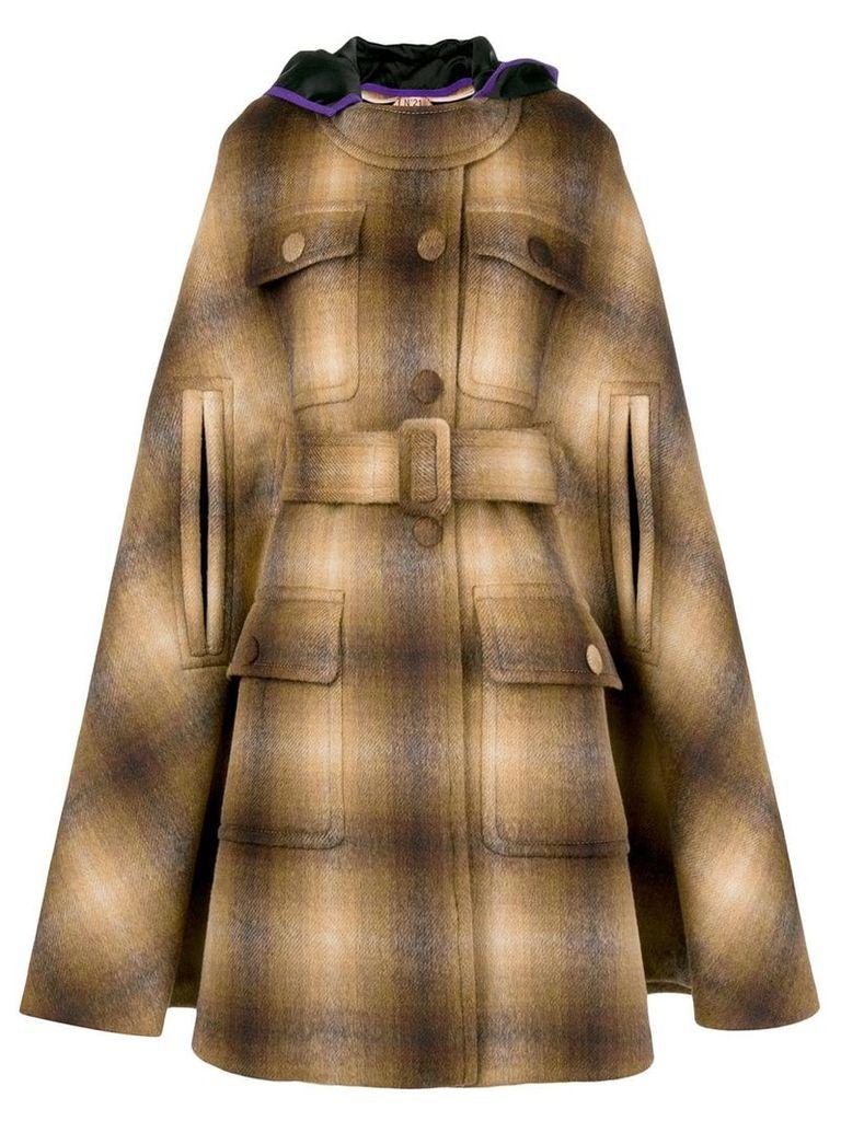 Nº21 hooded cape coat - Brown