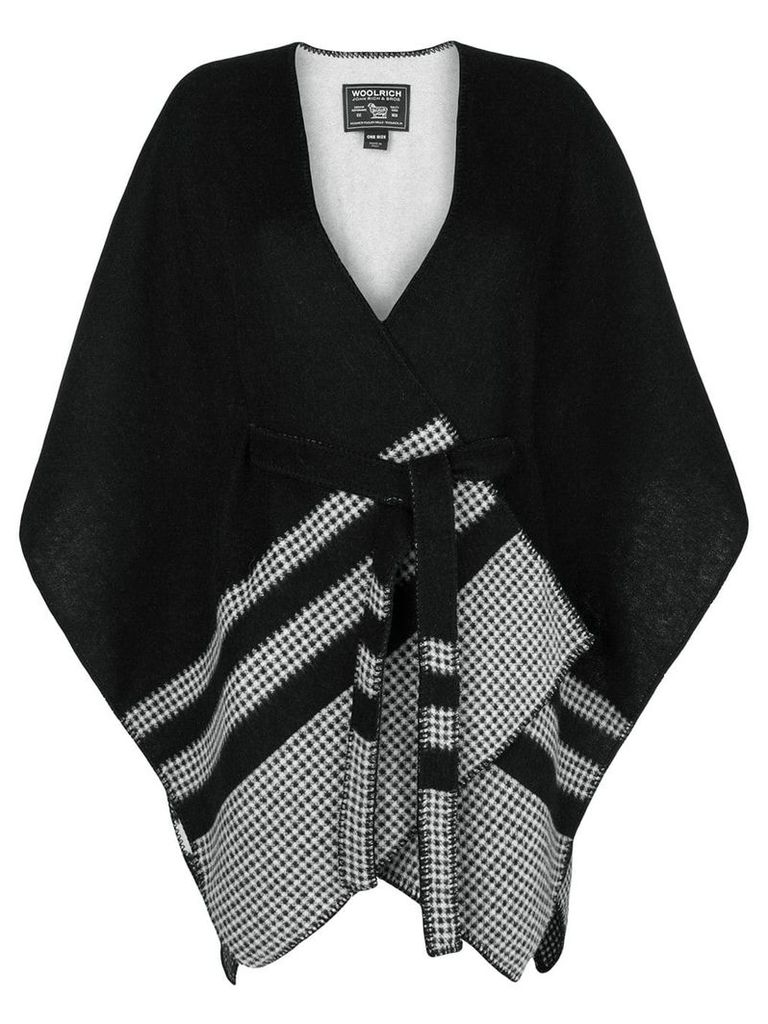 Woolrich checked detail cape - Black