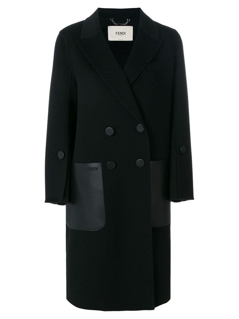 Fendi double breasted coat - Black