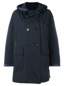 Moncler hooded mid-length coat - Blue