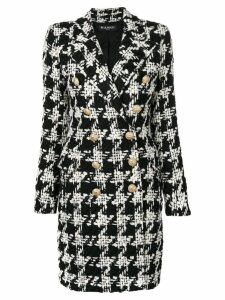 Balmain houndstooth tweed coat - Black