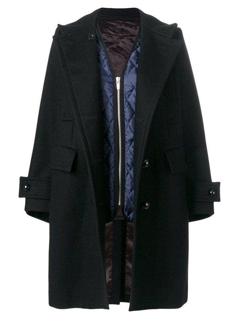 Sacai double breasted coat - Black