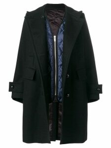 Sacai double breasted coat - Black