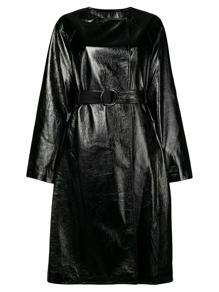 Three Floor vernished double breasted coat - Black