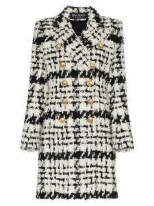 Balmain double breasted tweed wool mohair alpaca blend coat - White