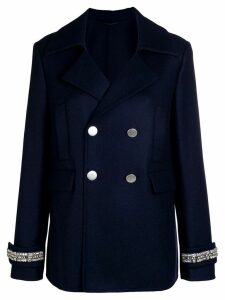Ermanno Scervino cuff detail double breasted coat - Blue