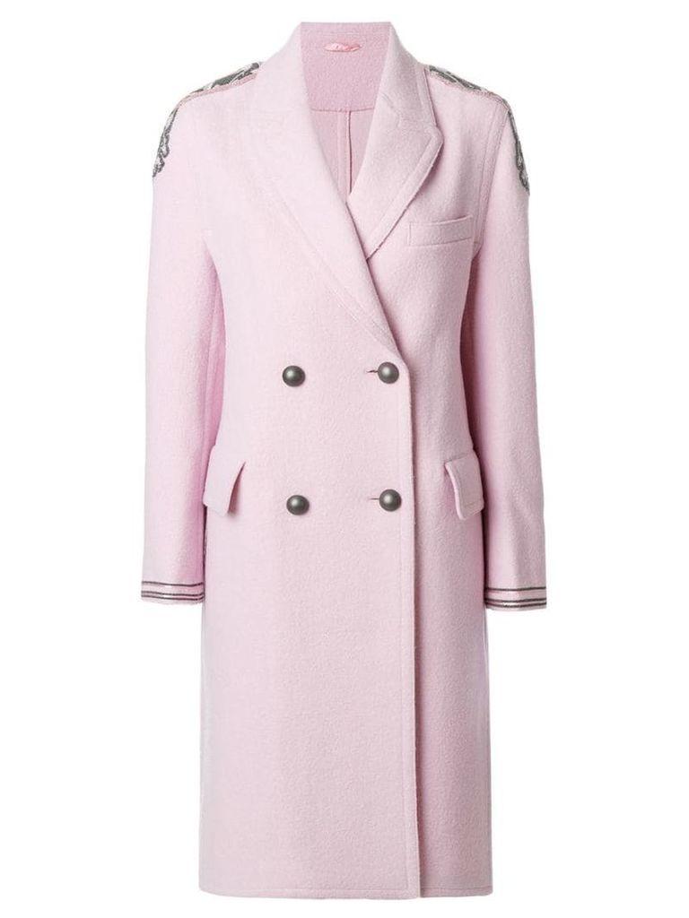 Ermanno Scervino shoulder applique double-breasted coat - Pink