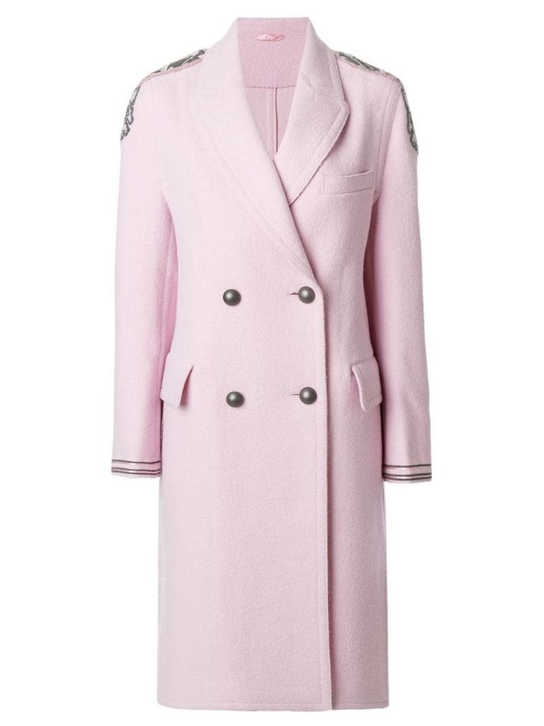 Ermanno Scervino shoulder applique double-breasted coat - Pink