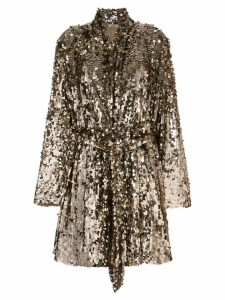 Attico sequins embellished coat - Metallic