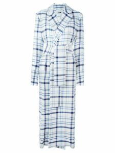 MSGM belted checked coat - White