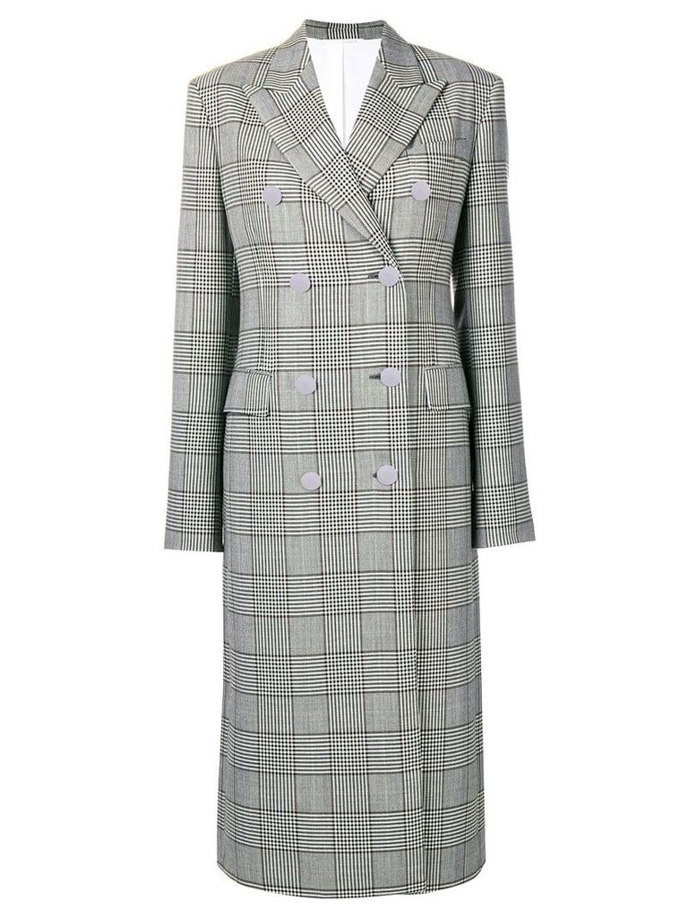 Calvin Klein 205W39nyc checked double breasted coat - Grey