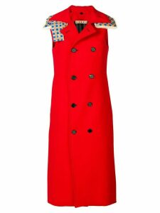 Marni hooded sleeveless double breasted coat - Red