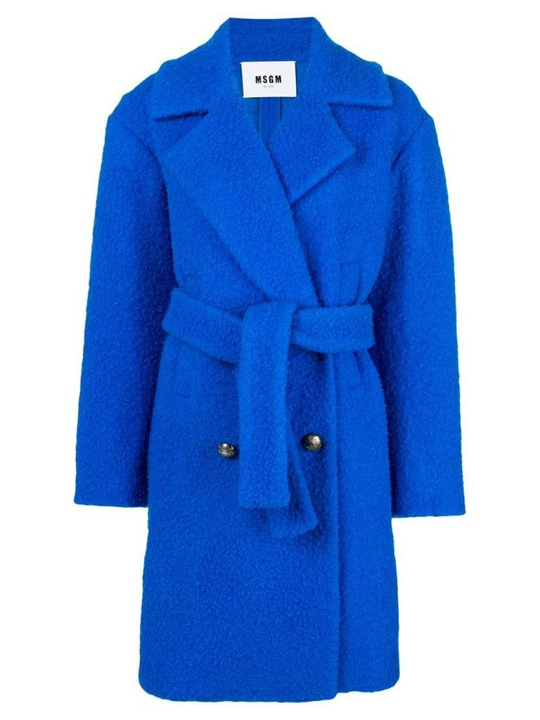 MSGM belted double-breasted bouclé coat - Blue