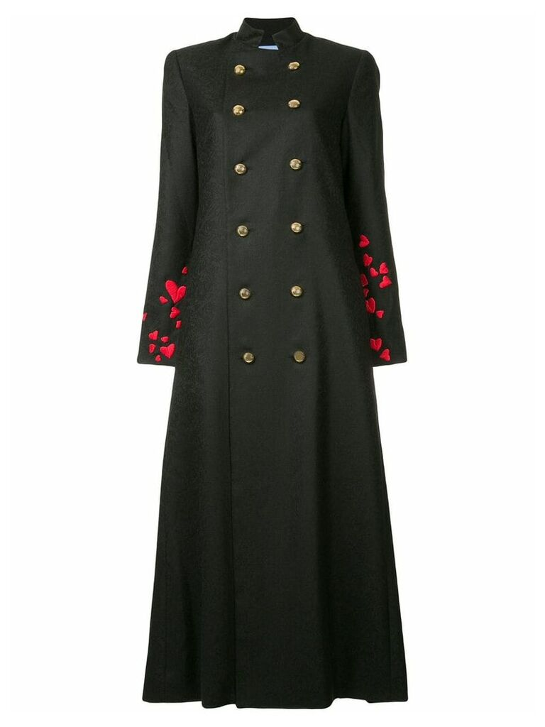 Macgraw heart embroidered double-breasted coat - Black