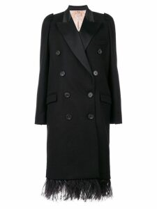 Nº21 double breasted coat with feathered hem - Black