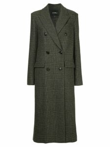 Goen.J checked double-breasted coat - Brown