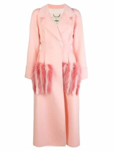 Fendi fur pocket double-breasted coat - Pink