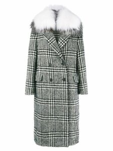 Ermanno Scervino checked double breasted coat - Black