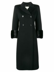 Fendi fur cuff double breasted coat - Black