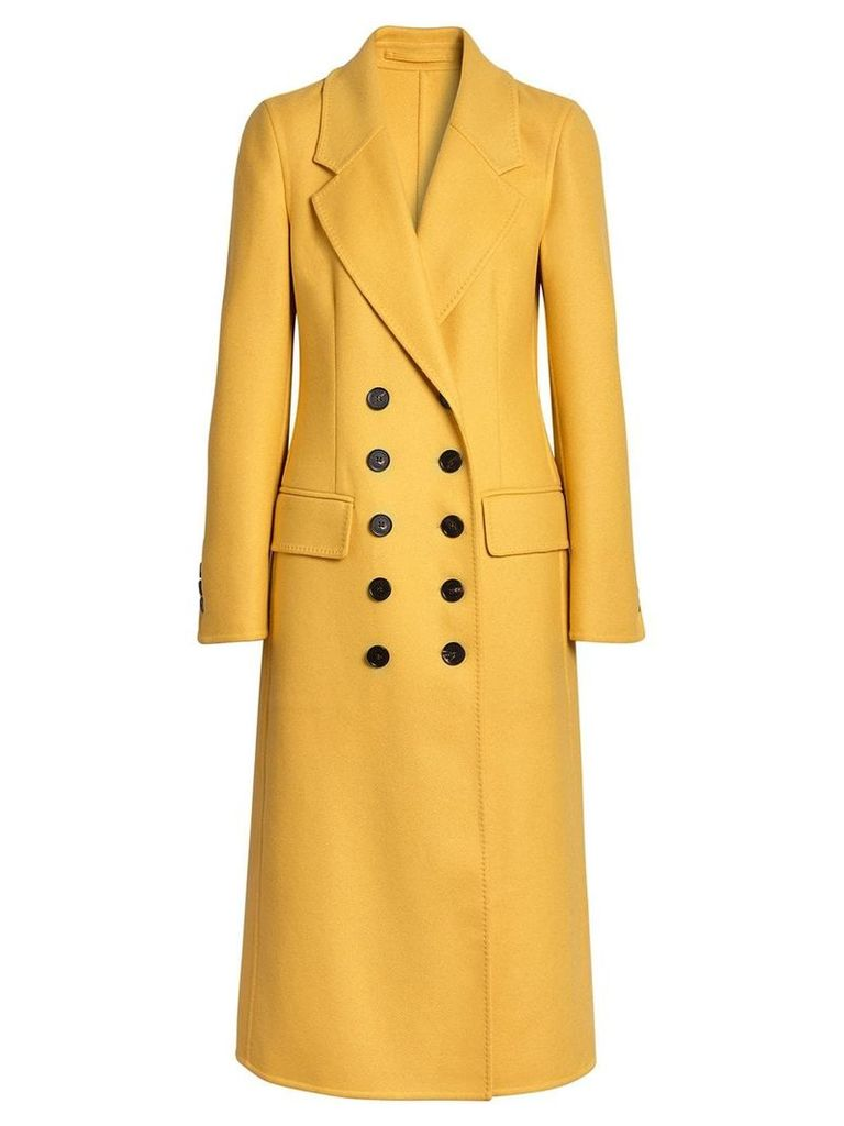 Burberry Double-breasted Cashmere Tailored Coat - Yellow