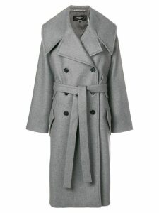 Rochas belted double-breasted coat - Grey