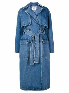 MSGM double breasted denim trench coat - Blue