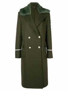 Ermanno Scervino faux fur trim double breasted coat - Green