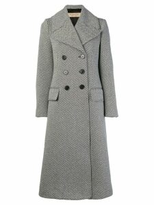 Burberry Herringbone Wool Blend Tailored Coat - Black