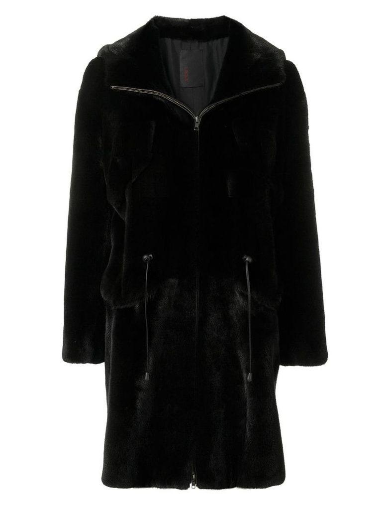 Liska hooded drawstring coat - Black