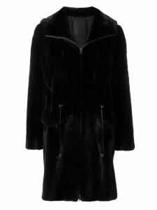 Liska hooded drawstring coat - Black