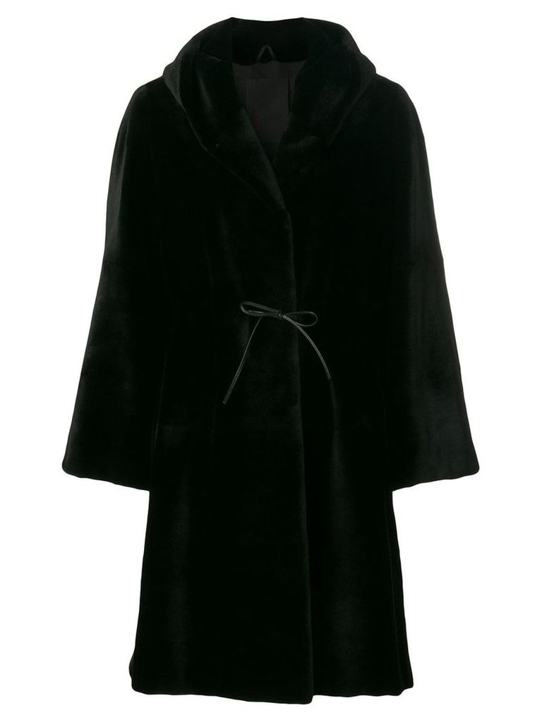 Liska Dawson hooded fur coat - Black