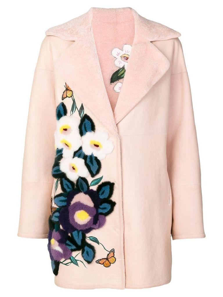 Liska floral embroidered fur coat - Pink