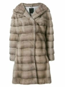 Liska Valencia hooded fur coat - Neutrals