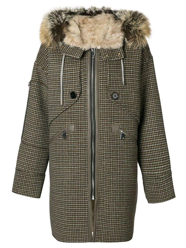 Liska houndstooth print hooded coat - Neutrals
