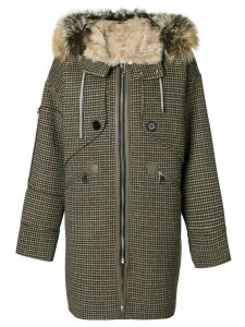 Liska houndstooth print hooded coat - Neutrals