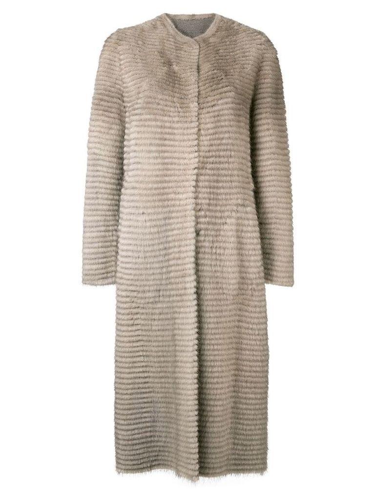 Liska collarless long coat - Neutrals