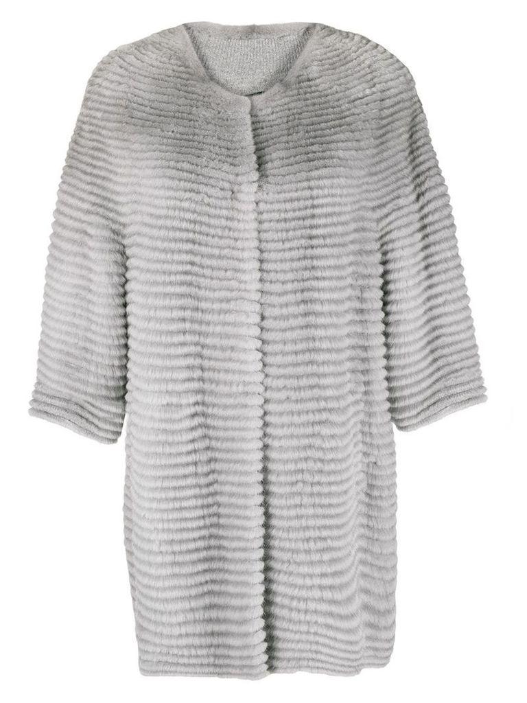 Liska collarless mid-length coat - Grey