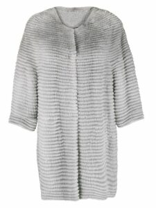 Liska collarless mid-length coat - Grey