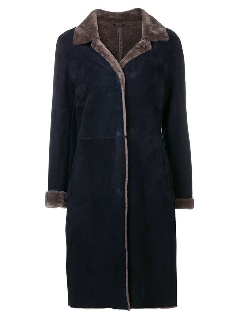 Liska bi-colour suede coat - Blue