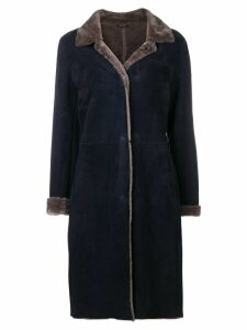 Liska bi-colour suede coat - Blue
